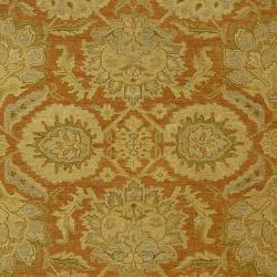 Indo Hand-woven Sumak Rust/ Beige Rug (4' x 6') - Thumbnail 2