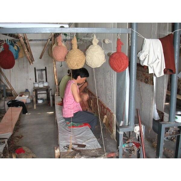 Indo Hand-woven Sumak Rust/ Beige Rug (4' x 6')