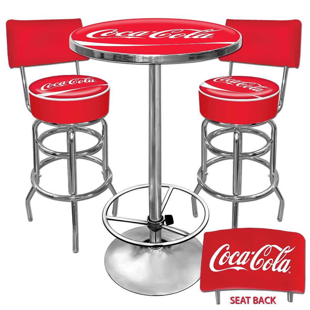 Trademark Room Coca Cola Vinyl Upholstery Metal Pub Table And Bar Stools With Backs Set