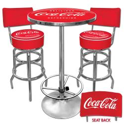 Coca Cola Pub Table and Bar Stools with Backs Set - Thumbnail 1