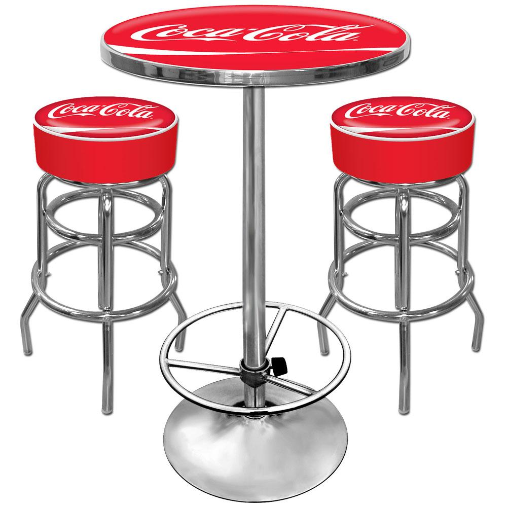 Coca Cola Pub Table And 2 Bar Stools Set Free Shipping