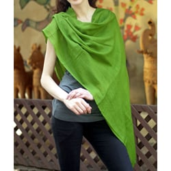 Handmade Wool 'Lime Green Muse' Shawl (India)