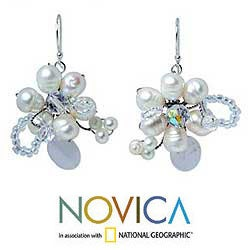 Pearl and Quartz 'Iridescent' Flower Earrings (4-6 mm) (Thailand)