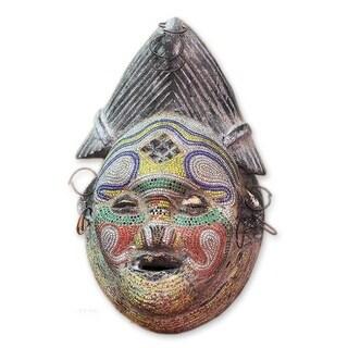 Sese Wood 'Kindly River Goddess' Congolese Mask (Ghana) - multi