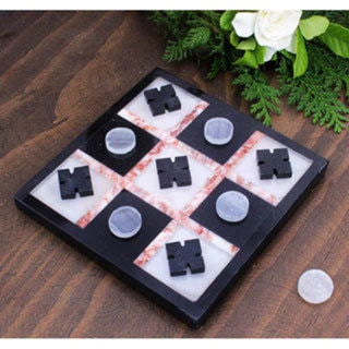 Handmade Marble 'Rose on Black' Tic-Tac-Toe Set (Mexico)