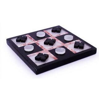 Handmade Marble 'Rose on Black' Tic-Tac-Toe Set (Mexico)