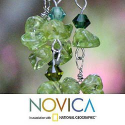 Lime Rain Cascades of Peridot with Dark Green Crystal Beads on 925 Sterling Silver Hooks Womens Long Dangle Earrings (Thailand)