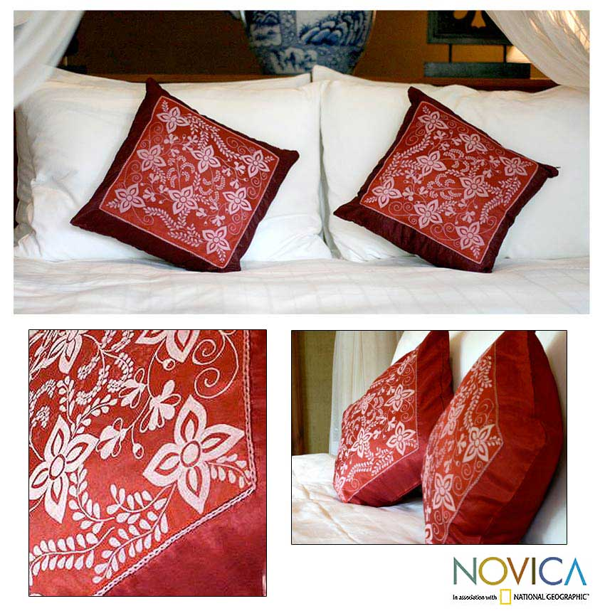 Set of 2 Silk and Cotton 'Starflowers' Cushion Covers (Thailand)