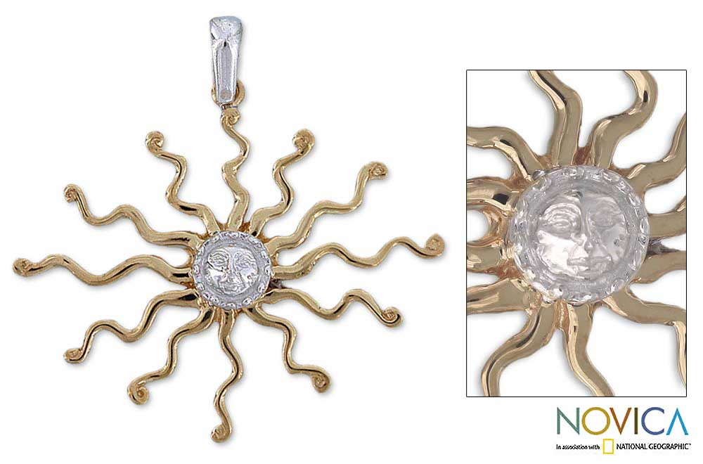 Goldplated Silver 'Astral King Sun' Pendant (Mexico)