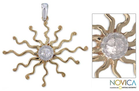 Handmade Goldplated Silver 'Astral King Sun' Pendant (Mexico)