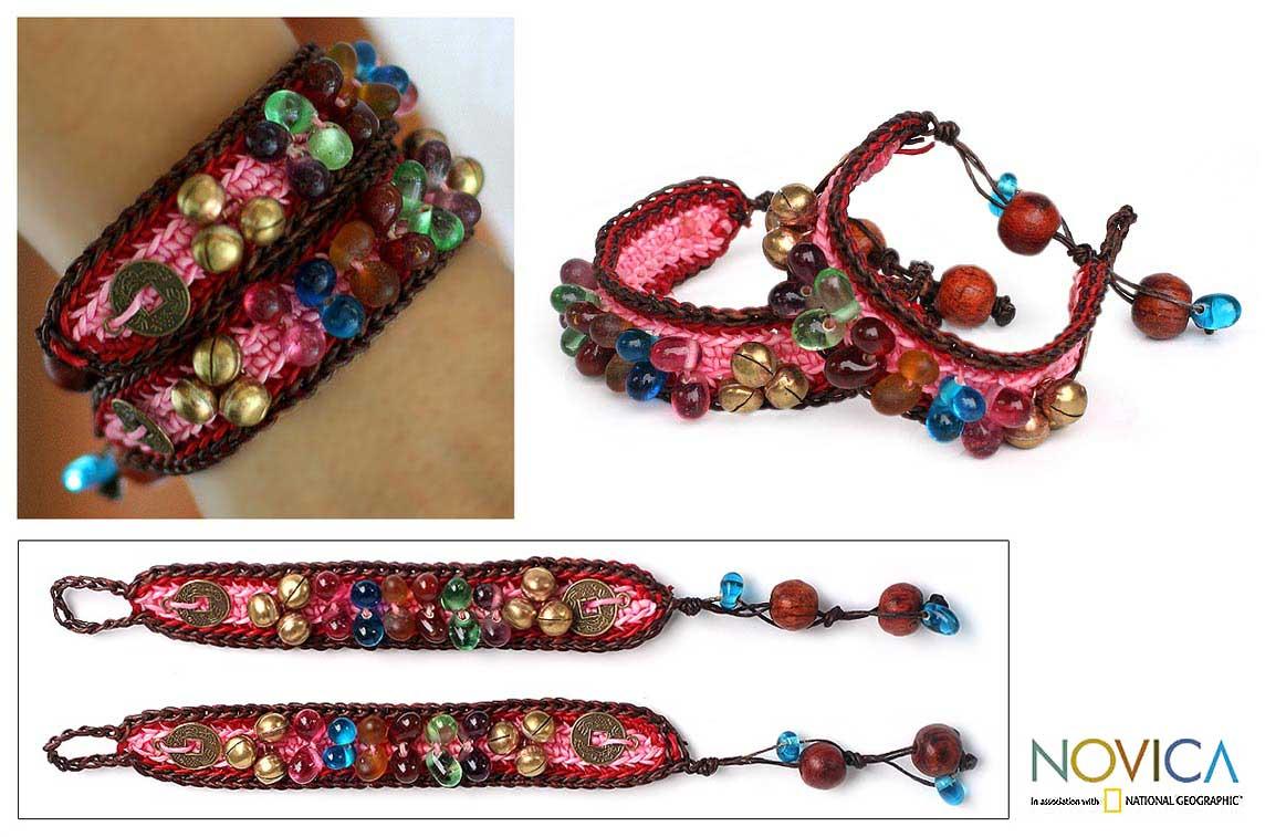 Handmade Set of 2 'Bold Pink Fortunes' Beaded Bracelets (Thailand)