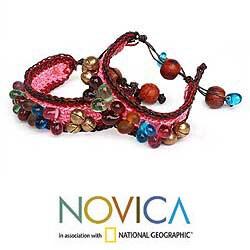 Handmade Set of 2 'Bold Pink Fortunes' Beaded Bracelets (Thailand) - Thumbnail 1