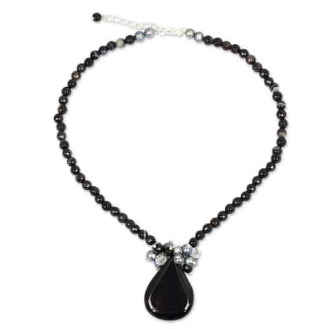 NOVICA Handmade Freshwater Pearls and Black Onyx Teardrop Falls Beaded Pendant Necklace (Thailand)