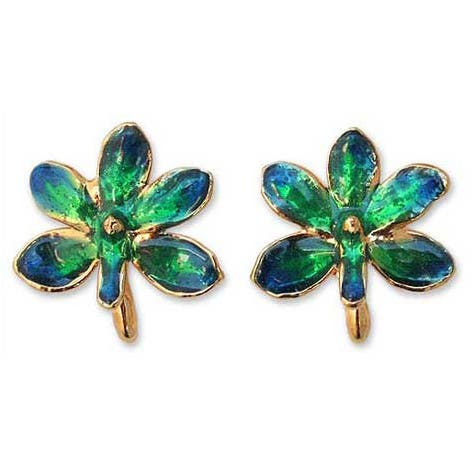 Handmade Goldplated Brass 'Aqua Perfection' Orchid Earrings (Thailand)