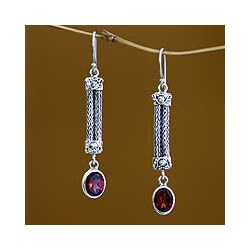 Handmade Sterling Silver 'Bali Birthright' Garnet Drop Earrings (Indonesia)