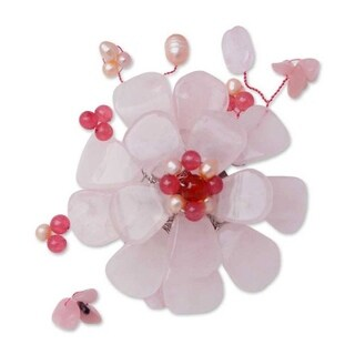 Handmade Gemstone and Pearl 'Apple Blossom' Brooch (4-6 mm) (Thailand)