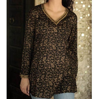 Cotton 'Golden Vines' Blouse (India)