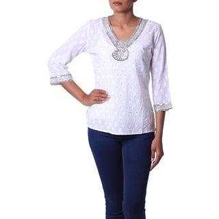Cotton 'Dazzling White' Beaded Blouse (India)