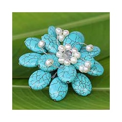 Resin 'Blue Azalea' Pearl Brooch (4-6 mm) (Thailand)