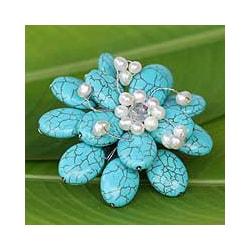 Handmade Resin 'Blue Azalea' Pearl Brooch (4-6 mm) (Thailand)