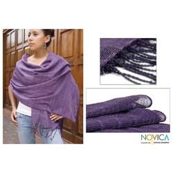 Handmade Cotton 'Purple Paths' Shawl (Guatemala)