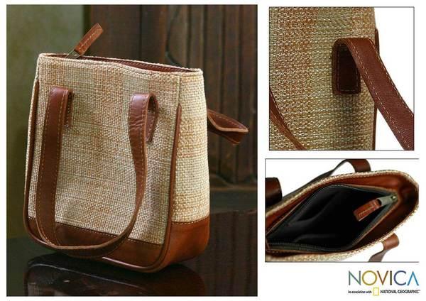 Leather and Cotton 'Petite Cinnamon' Handbag (Guatemala)