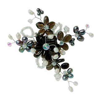 Handmade Pearl and Smokey Quartz 'Shadow Garden' Brooch (4-6 mm) (Thailand)