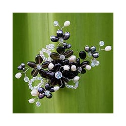 Pearl and Smokey Quartz 'Shadow Garden' Brooch (4-6 mm) (Thailand)
