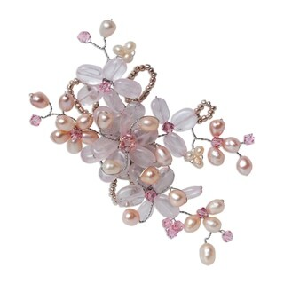 Handmade Pearl and Rose Quartz 'Honey Peach' Brooch (4-6 mm) (Thailand)