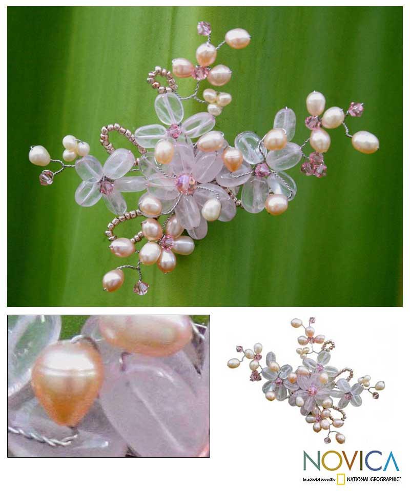 Handmade Pearl and Rose Quartz 'Honey Peach' Brooch (4-6 mm) (Thailand)