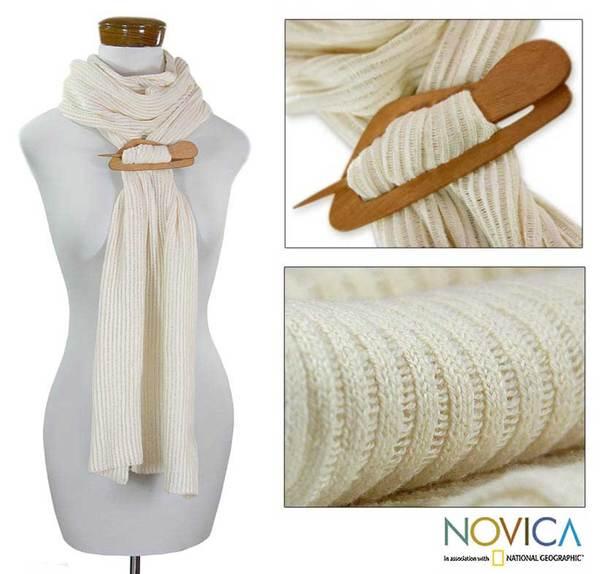 Cotton 'Ivory Paths' Cedar Pin Scarf (Guatemala)