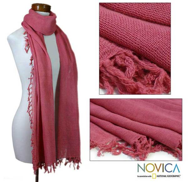 Cotton 'Sunset Red' Scarf (Guatemala)