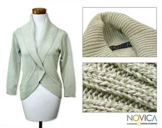 Handmade Women's Cotton 'Maya Mint' Cardigan Sweater (Guatemala)