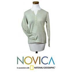 Handmade Women's Cotton 'Spring Mint' Sweater (Guatemala)
