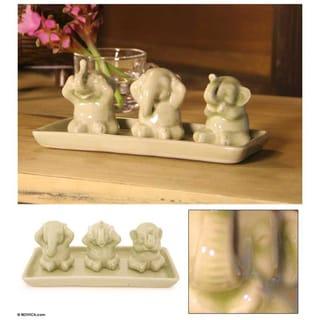 Set of 3 Celadon Ceramic 'Elephant Life Lessons' Figurines  , Handmade in Thailand