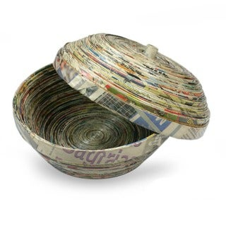 Handmade Recycled Paper 'Spiral' Box (Guatemala)