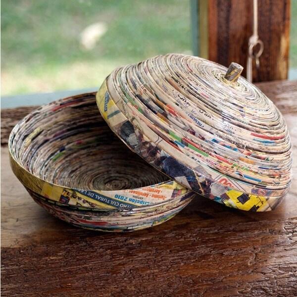 Handmade Recycled Paper 'Spiral' Box (Guatemala)