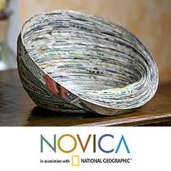 Recycled Paper 'Abstract News' Decorative Bowl (Guatemala)