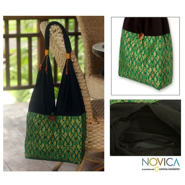 Handmade Cotton 'Thai Emerald' Sling Tote Bag (Thailand)