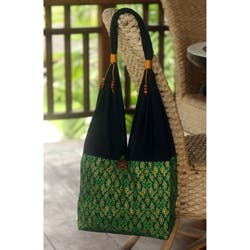 Handmade Cotton 'Thai Emerald' Sling Tote Bag (Thailand) https://ak1.ostkcdn.com/images/products/5261227/Cotton-Thai-Emerald-Sling-Tote-Bag-Thailand-P13079392ab.jpg?impolicy=medium