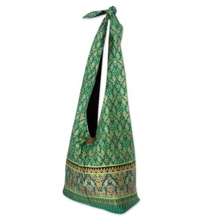 Handmade Cotton 'Royal Thai Emerald' Sling Tote Bag (Thailand)
