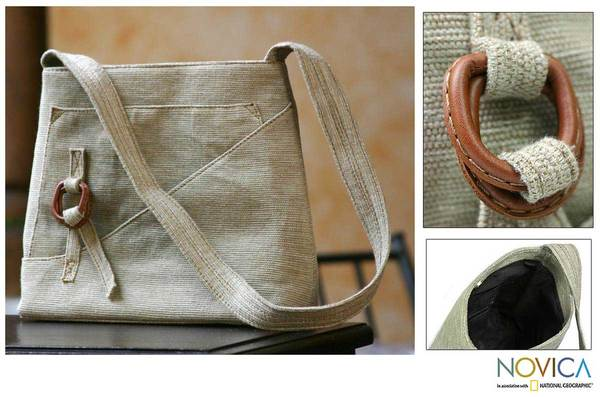 Cotton and Leather 'Natural Trend' Shoulder Bag (Guatemala)