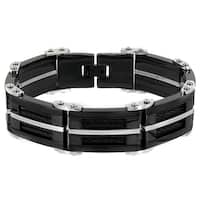 Crucible Stainless Steel Men's Black Cable Inlay Bracelet