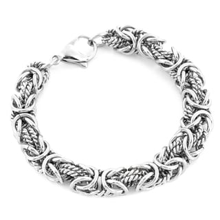 High Polish Intricate Byzantine Stainless Steel Bracelet