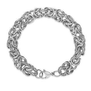 High Polish Intricate Byzantine Stainless Steel Bracelet - Silver