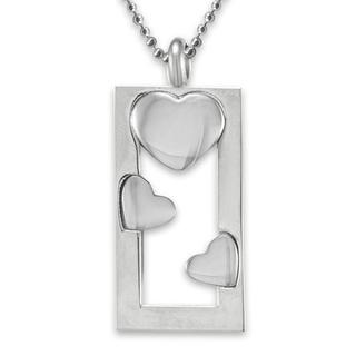 Elya Designs Stainless Steel Heart Frame Polished Necklace