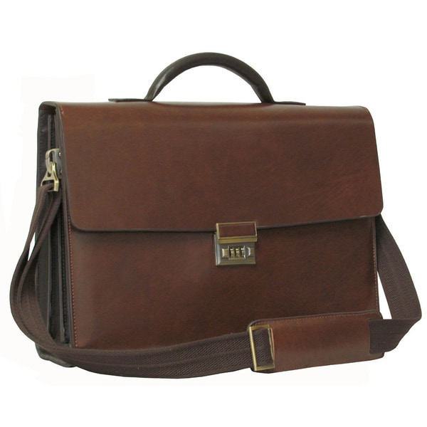Amerileather Two-tone Efficiency Leather Briefcase