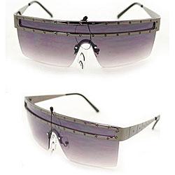 Women's M9371 Metallic Grey Square Sunglasses - Thumbnail 2