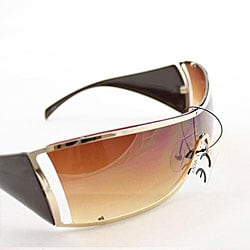 Women's 6787 Brown Shield Sunglasses - Thumbnail 1