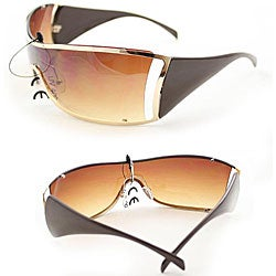 Women's 6787 Brown Shield Sunglasses - Thumbnail 2